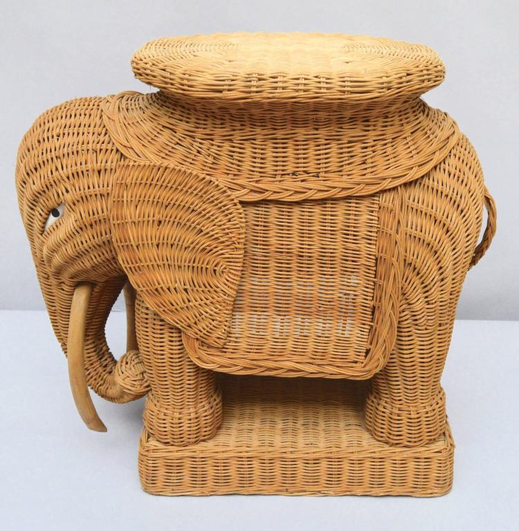 1970s woven wicker elephant made in Italy to be used as either a side table  or