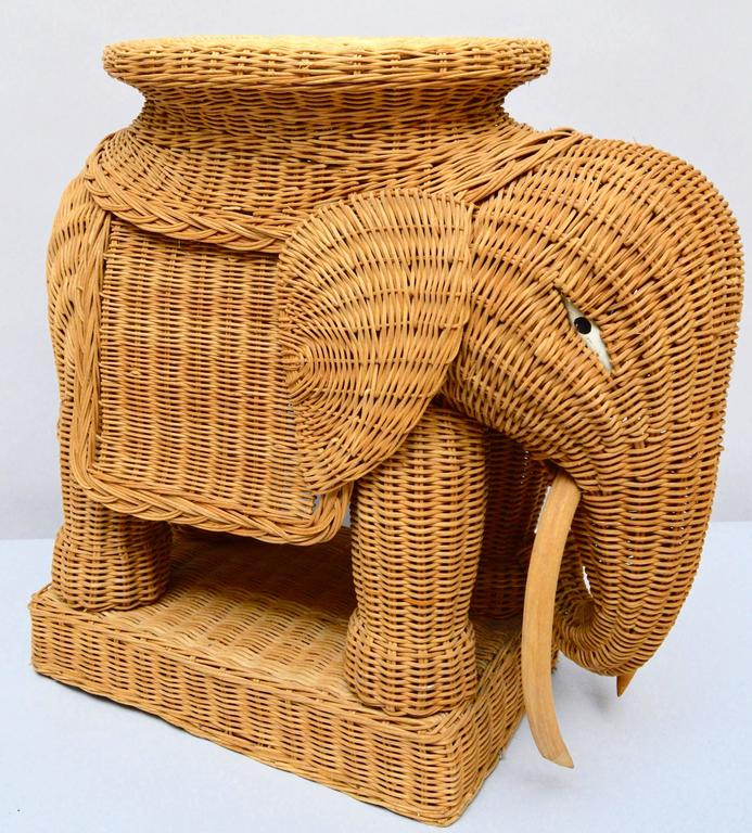 Vintage Italian Wicker Elephant Side Table Or Stool At 1stdibs