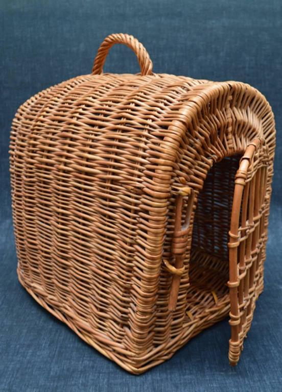 Vintage English Wicker Basket Pet Carrier For A Cat Or
