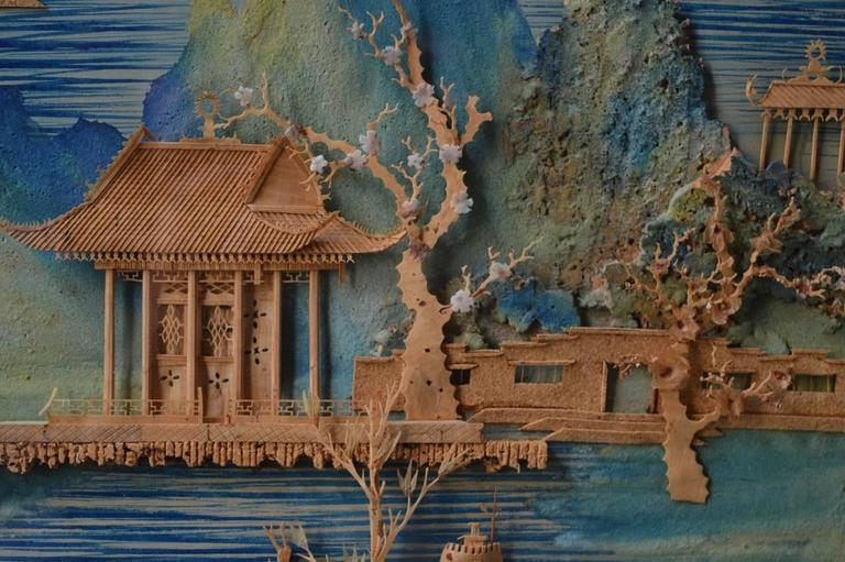 Vintage Chinese Carved Cork Diorama 1930s Hong Kong For