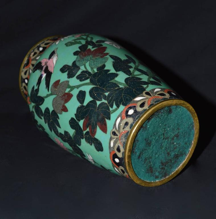 Antique Meiji Period Japanese Green Cloisonne Vase 3