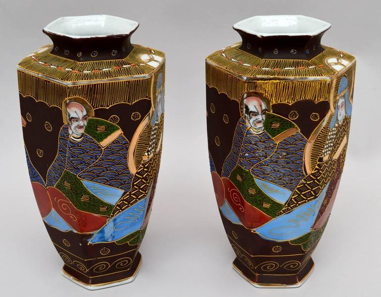 Pair Of Japanese Satsuma Hexagonal Vases For Sale At 1stdibs
