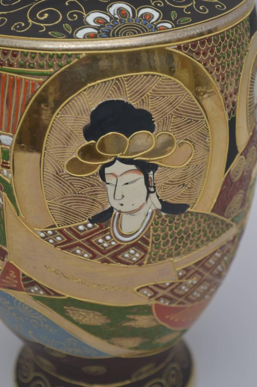 Japanese Satsuma Moriage Vase Circa 1920 For Sale At 1stdibs