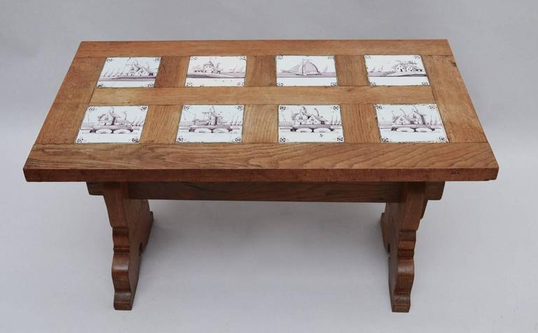 Vintage Dutch Oak Coffee Table inset with Early 19th Century Delft ...