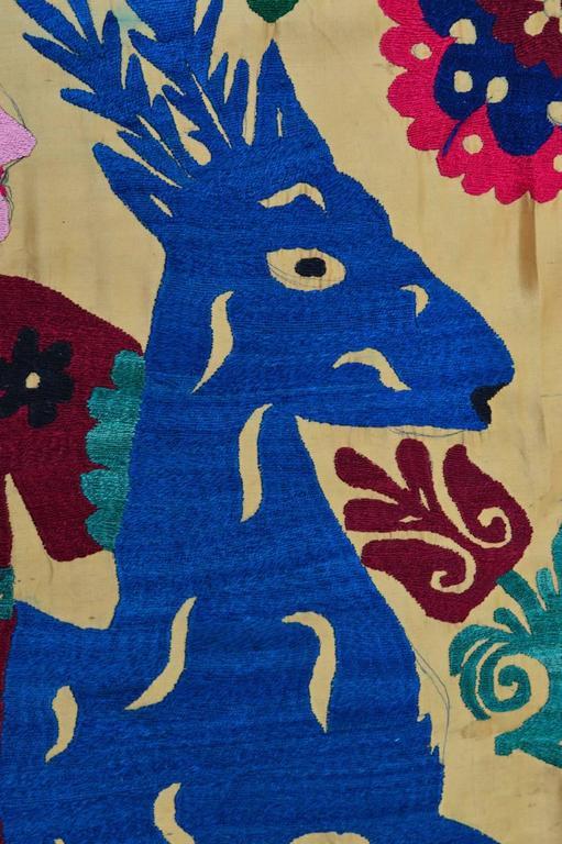 Large Vintage Hand Embroidered Uzbek Suzani Silk Wall