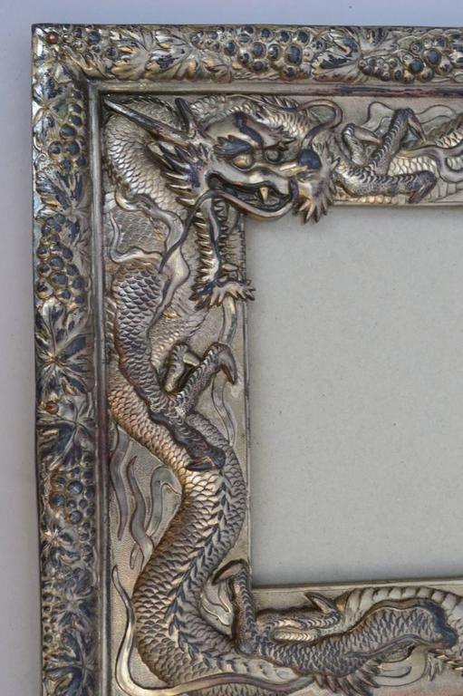 Japanese Silver Plated Picture Frame Embellished With
