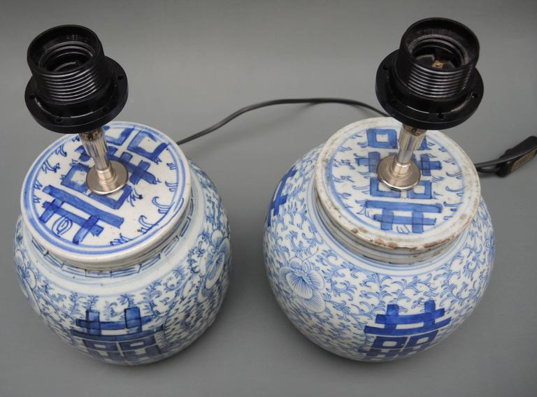 ginger jar lamps for bedroom pair of antique chinese blue and white porcelain ginger jar lamps
