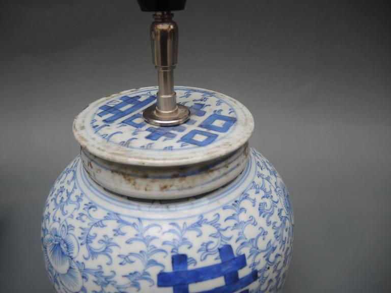 Pair Of Antique Chinese Blue And White Porcelain Ginger Jar Lamps In Good Condition For