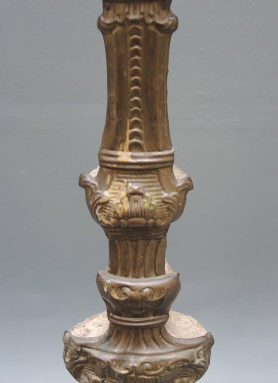Baroque Pair of 18th Century  Italian Altar Candlesticks in Repousse Brass And Wood For Sale
