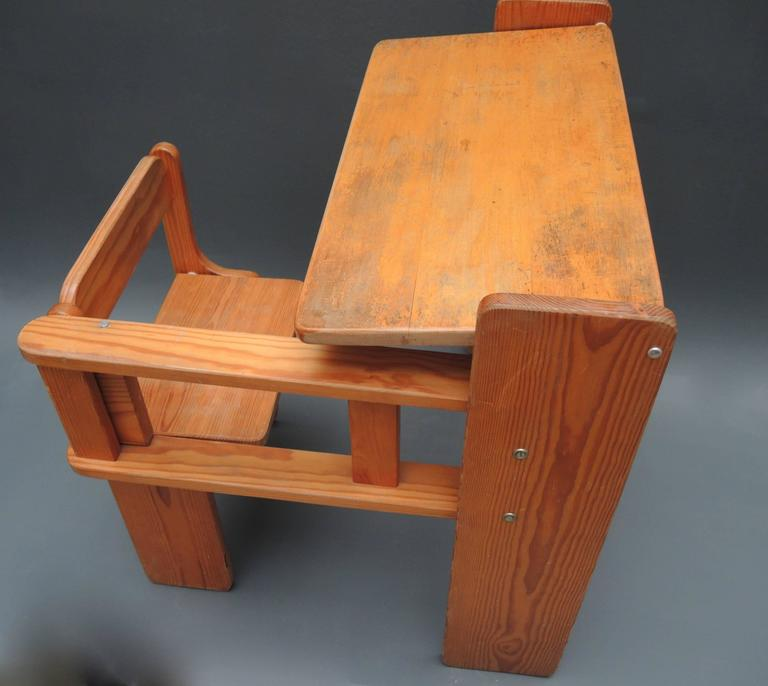 Mid-Century Modern Folding Wood Childs Desk with Integrated Chair 2