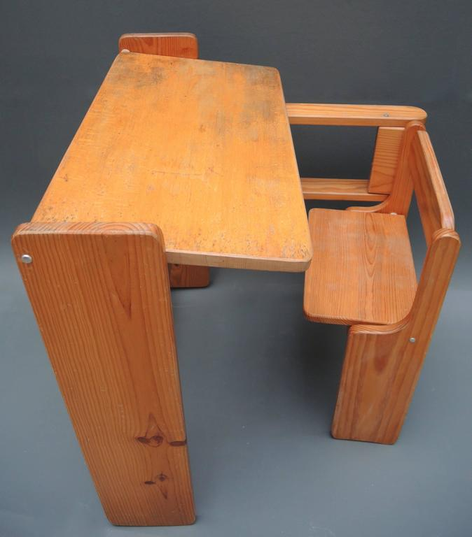 Mid-Century Modern Folding Wood Childs Desk with Integrated Chair 4