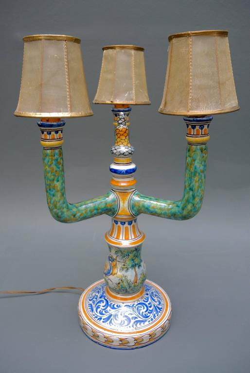 This Vintage 1940s Spanish Talavera Candelabra Is In Rare Excellent  Condition. Hand Painted In