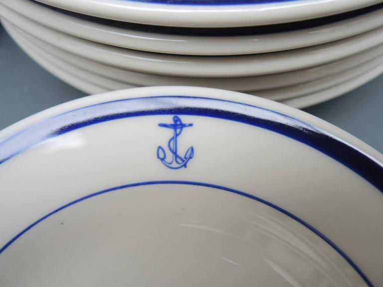 A complete 31 piece set of blue and white American nautical Junior Navy Officers dinnerware made & Vintage 31 Piece Set of Nautical Blue and White American Navy ...