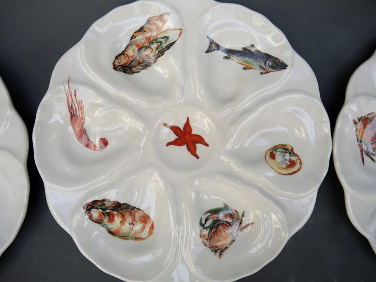 Fish Set Including a Large Platter and Six 1960s French Porcelain Oyster Plates 4