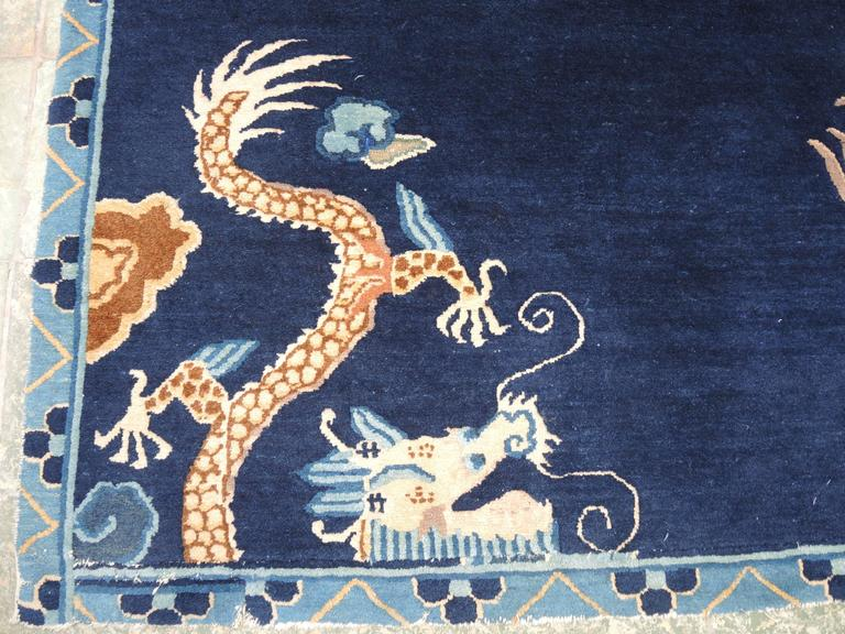 Antique Chinese Peking Blue Carpet With Dragons At 1stdibs