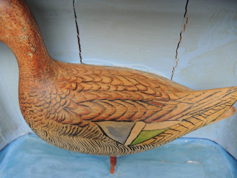 Pine Swedish Shadow Box Diorama with a Hand-Carved and Painted Wood Shore Bird For Sale