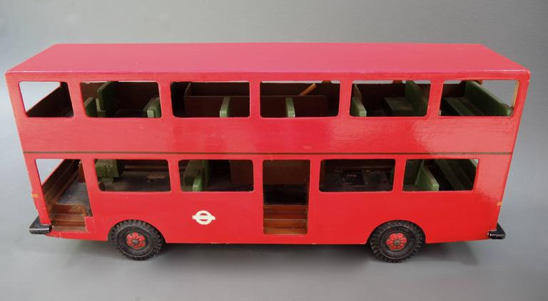 Vintage British Wooden Double Decker Bus Model For Sale at ...
