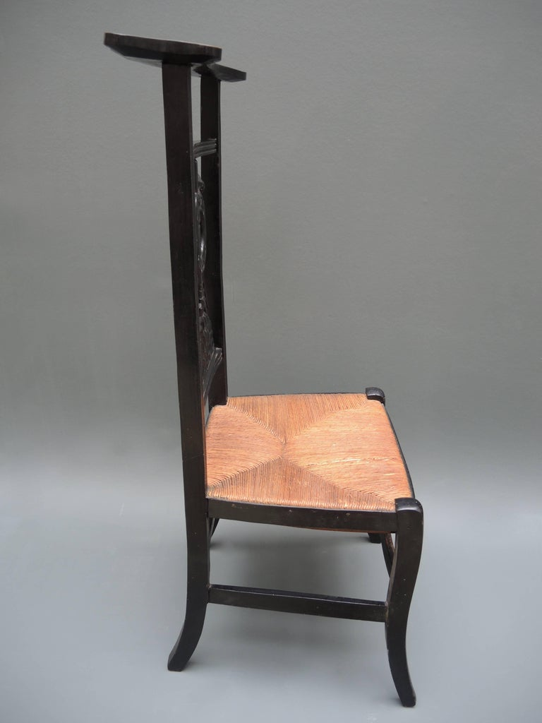 Wood 19th Century French Prie-Dieu Prayer Chair with Detailed Carving For Sale