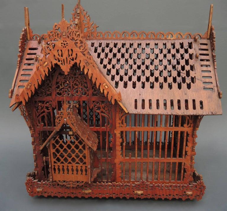 Antique Dutch Folk Art Wood Fretwork Cut Out Birdcage