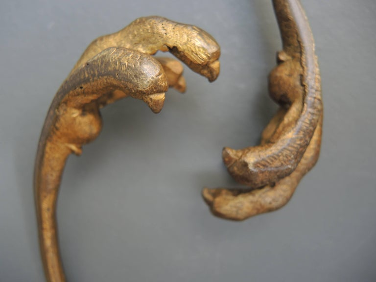 Pair of French Napoleon III Bronze Falcon Talon Curtain Tiebacks In Good Condition For Sale In Antwerp, BE
