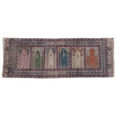 Antique Turkish Anatolian Kayseri Silk Rug with Architectural Arches and Pillars