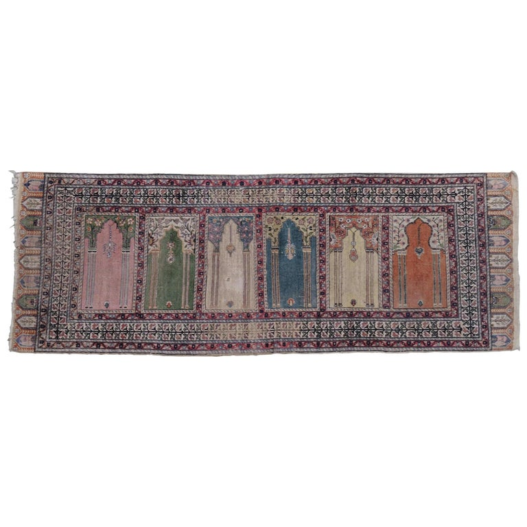 Antique Turkish Anatolian Kayseri Silk Rug with Architectural Arches and Pillars For Sale