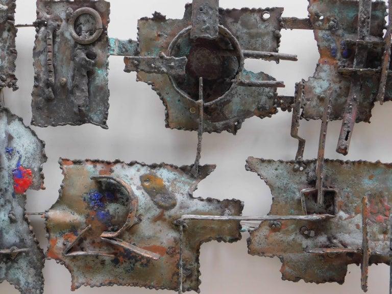Belgian  Midcentury Brutalist Copper Wall Sculpture by Jan Sergeant For Sale