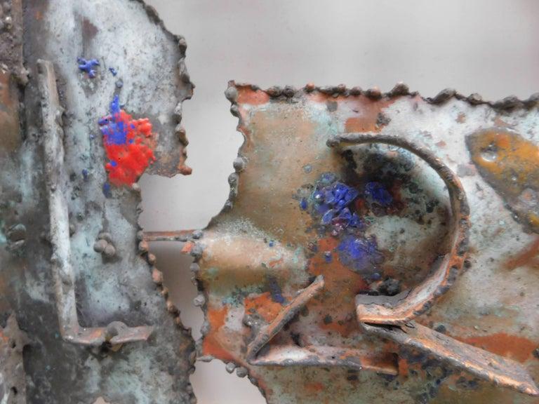 Mid-Century Modern  Midcentury Brutalist Copper Wall Sculpture by Jan Sergeant For Sale