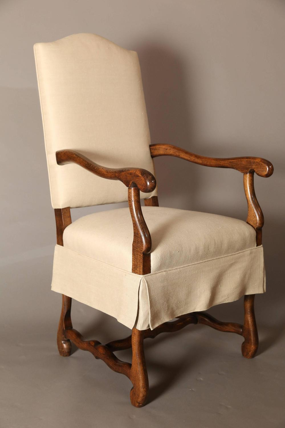 set of eight os de mouton dining chairs with tailored