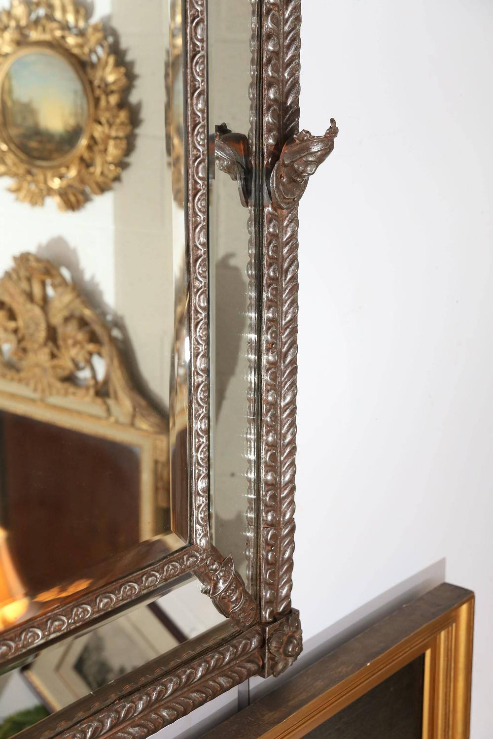 Large beveled mirror with decorative metal frame for sale for Decorative wall mirrors for sale