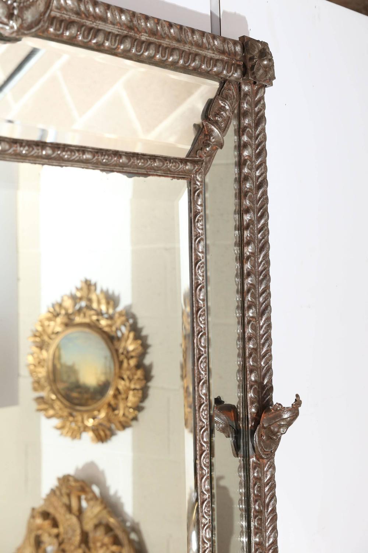 large beveled mirror with decorative metal frame for sale at 1stdibs. Black Bedroom Furniture Sets. Home Design Ideas
