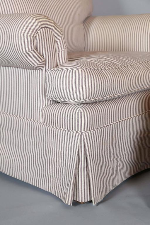 American Classical Custom Down Filled Skirted Club Chair And Ottoman In  Ticking Stripe For Sale
