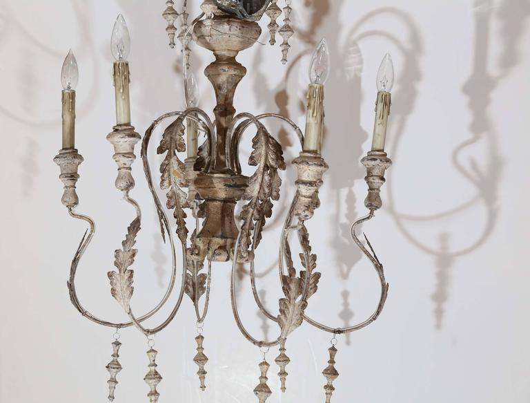 Wood and Metal distressed finish Swedish Chandelier For