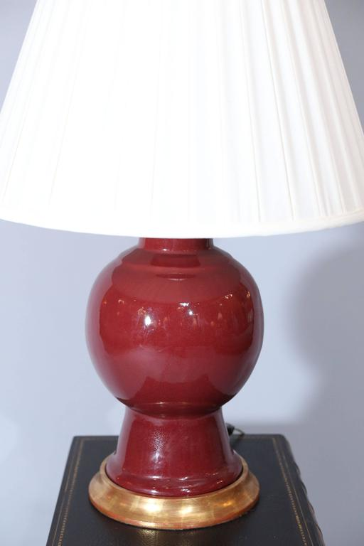 pair of claret color gourd shape porcelain lamps for sale at 1stdibs. Black Bedroom Furniture Sets. Home Design Ideas