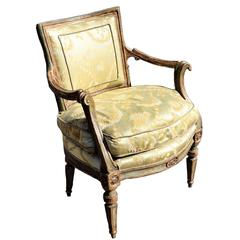 18th Century Venetian Neoclassical Painted and Parcel-Gilt Fauteuil
