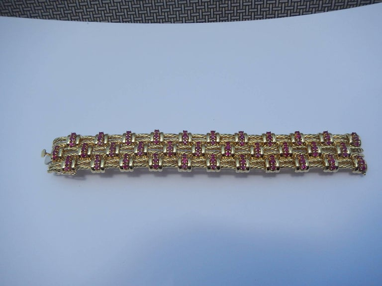 American Tiffany & Co. 18 Karat Gold and Ruby Bracelet For Sale