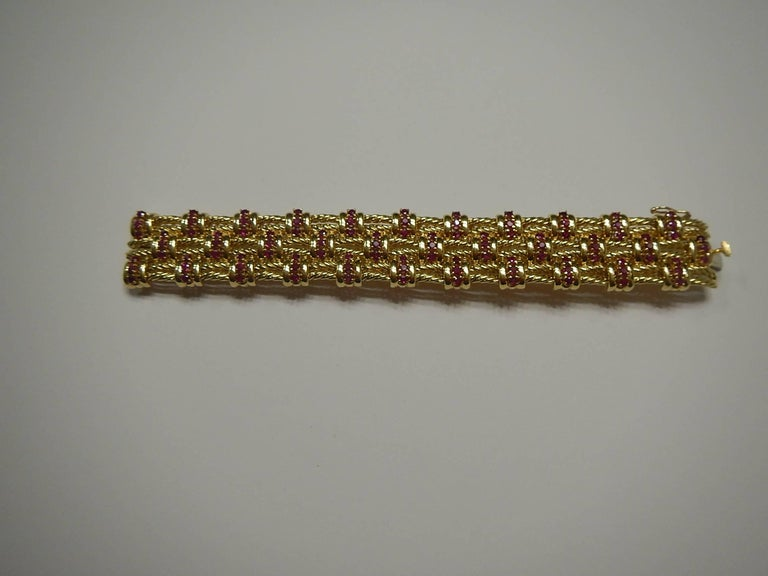 Tiffany & Co. 18 Karat Gold and Ruby Bracelet In Excellent Condition For Sale In Houston, TX