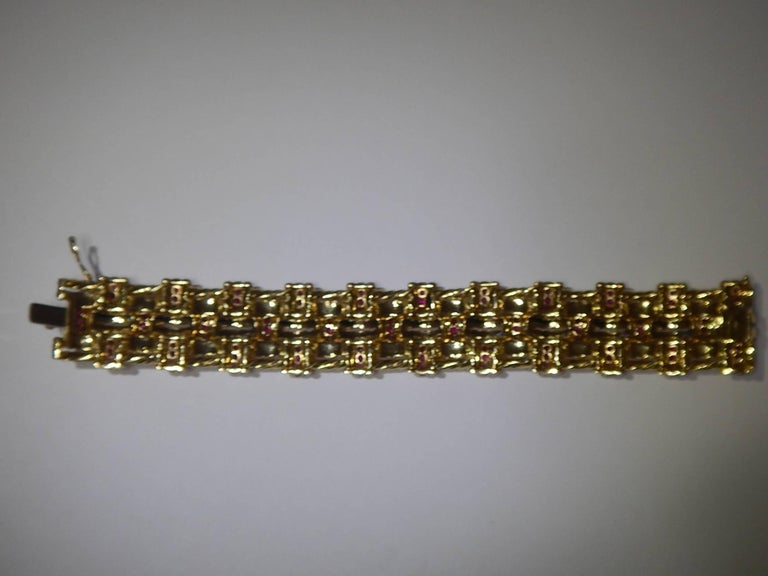 Tiffany & Co. 18 Karat Gold and Ruby Bracelet For Sale 1