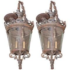 Pair of 19th Century Three-Lite French Lanterns