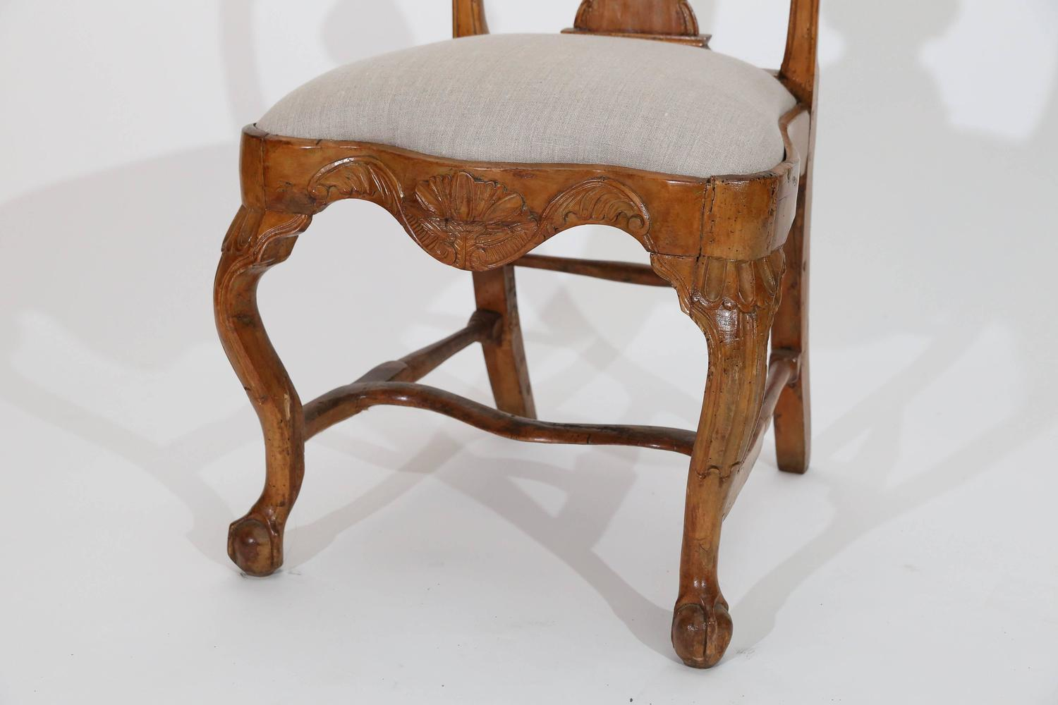 Set Of Six Antique Carved Pine Dutch DIning Side Chairs At 1stdibs