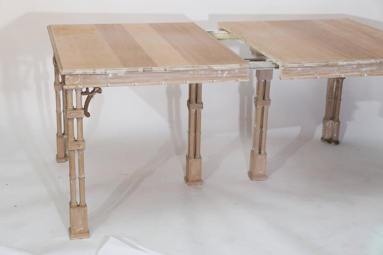 Vintage Stripped Chinese Chippendale Style Dining Table At