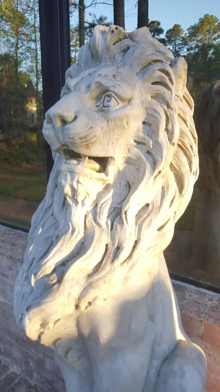 Pair Of 19th Century French Carrera Marble Lion Statues