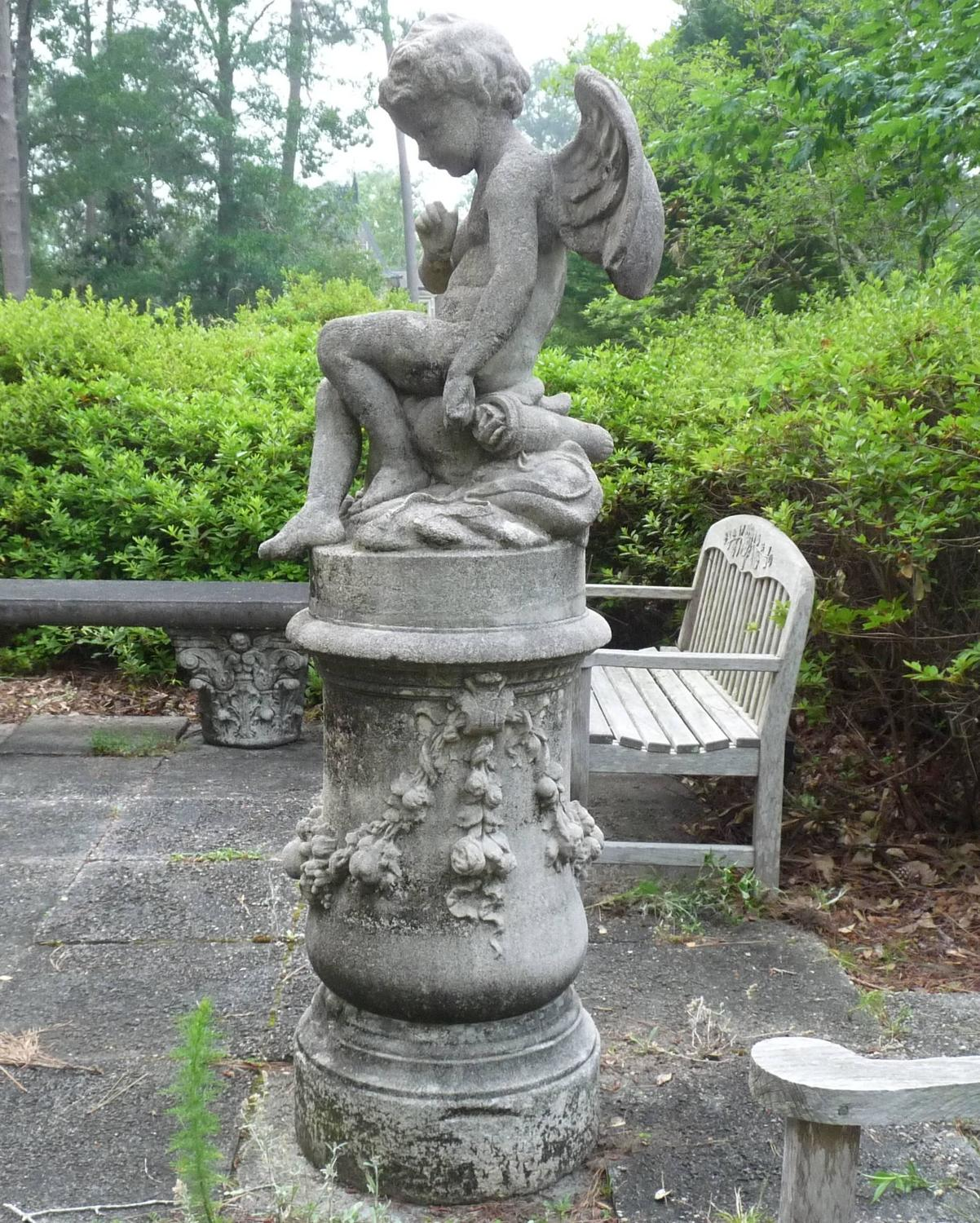 """Old Garden Statue: """"La Fontaine"""" French Antique Stone Statue And Base For"""