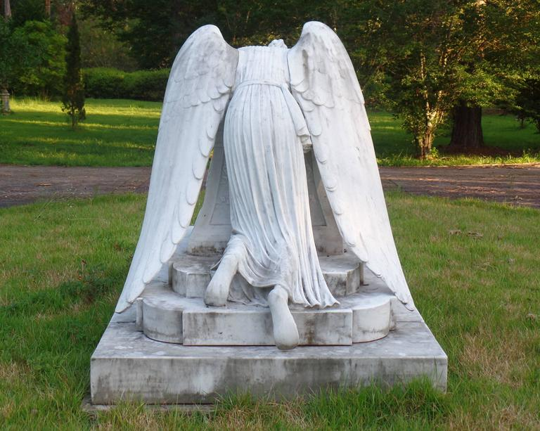 Merveilleux Beaux Arts White Carrera Marble Angel Of Grief Statue, Hand Carved  Reproduction For Sale