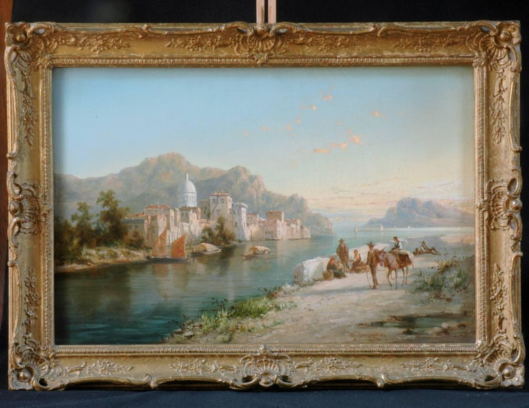 Pair of William Raymond Dommersen oil paintings, of scenes that he enjoyed on many European journeys shared with his father.  Both paintings are colorful and feature livestock and peasants on a road that follow the rivers that maintain a intregal