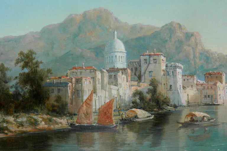 Beaux Arts Pair of Signed Oil on Canvas Paintings by W. Dommersen For Sale