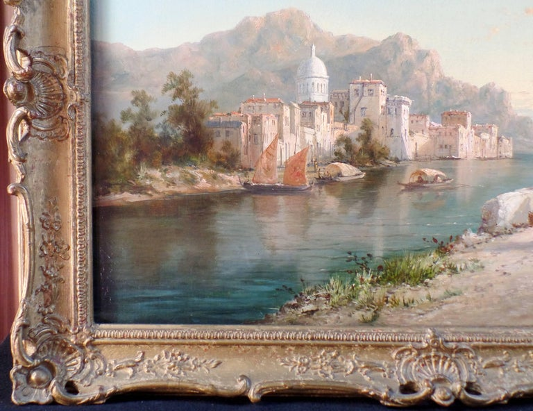 English Pair of Signed Oil on Canvas Paintings by W. Dommersen For Sale