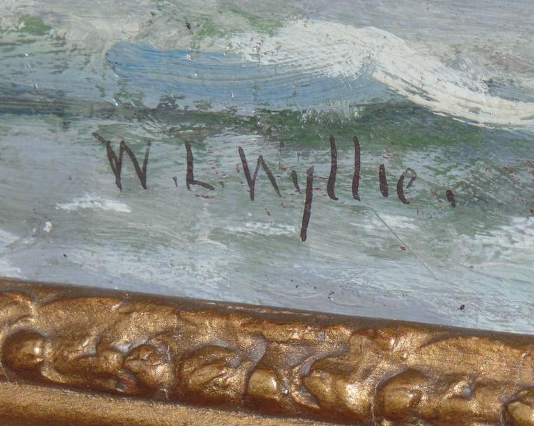 """William Lionel Wyllie has been referred to as """"Britain's premier marine painter of the later victorian and early 20th century"""".  """"Off Southend"""" is a very subtle toned blue and grey oil painting showing a single sail ship upon"""