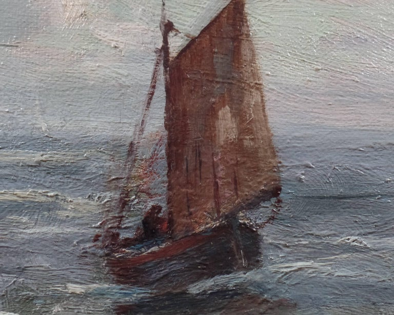 English W. Wyllie Oil Painting on Canvas