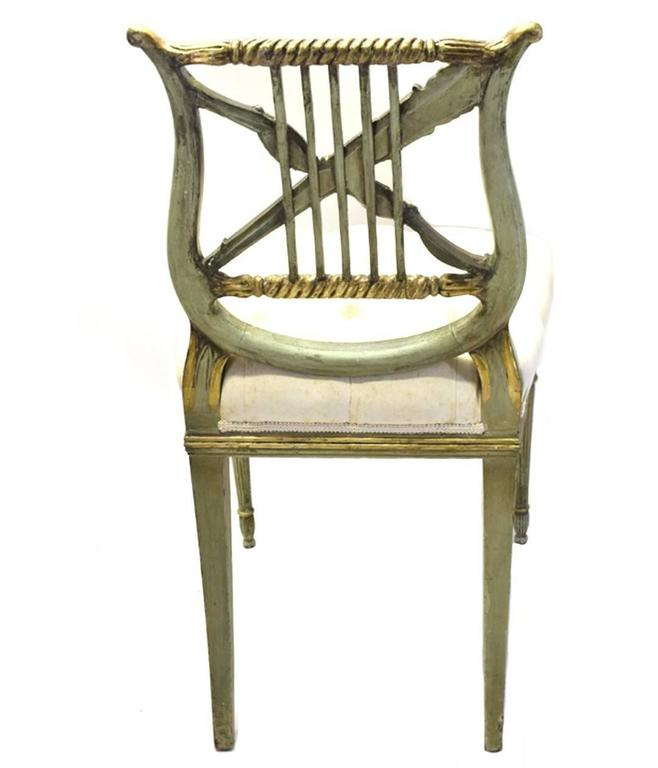Carved Pair Of Antique French Napoleon III Period Paint And Gilt Lyre Back Side  Chairs